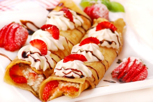 pancakes with cheese,cream and strawberry